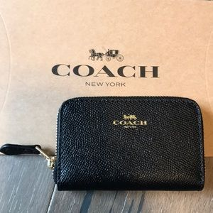 COACH Cardholder. Black w/ gold detail. New w/tags